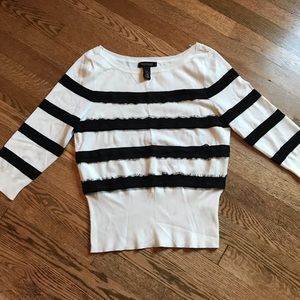 Like new WHBM White sweater with black lace stripe